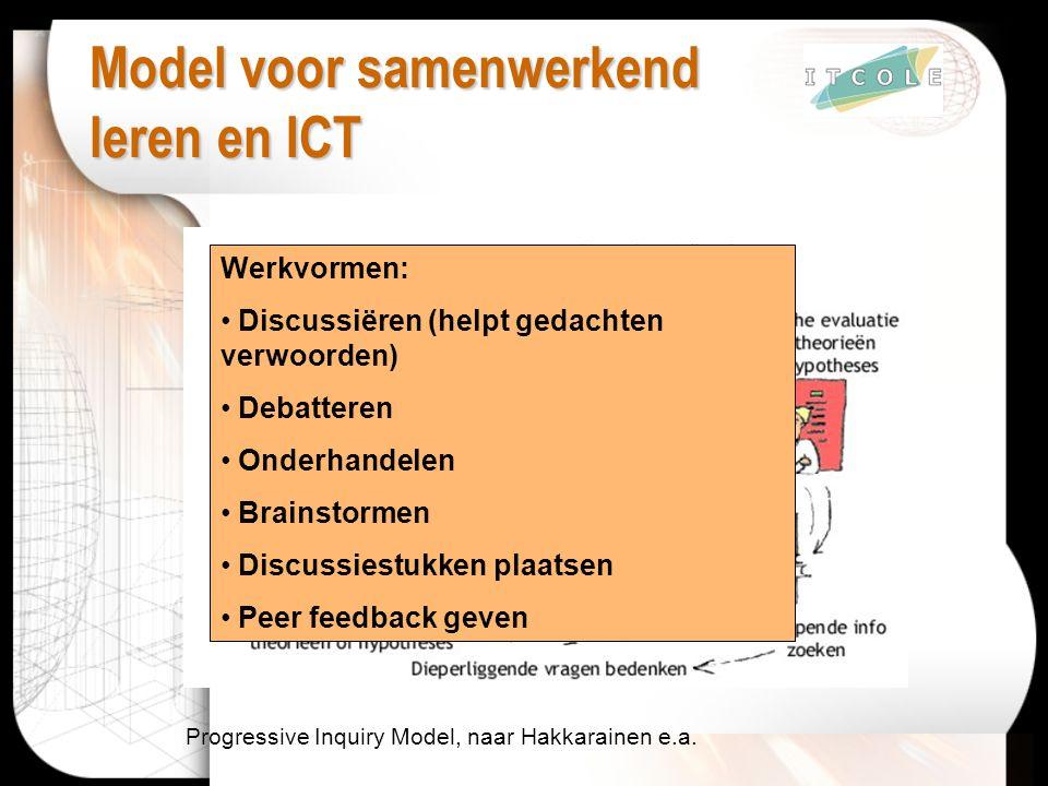 Model voor samenwerkend leren en ICT Progressive Inquiry Model, naar Hakkarainen e.a. Werkvormen: Discussiëren (helpt gedachten verwoorden) Debatteren