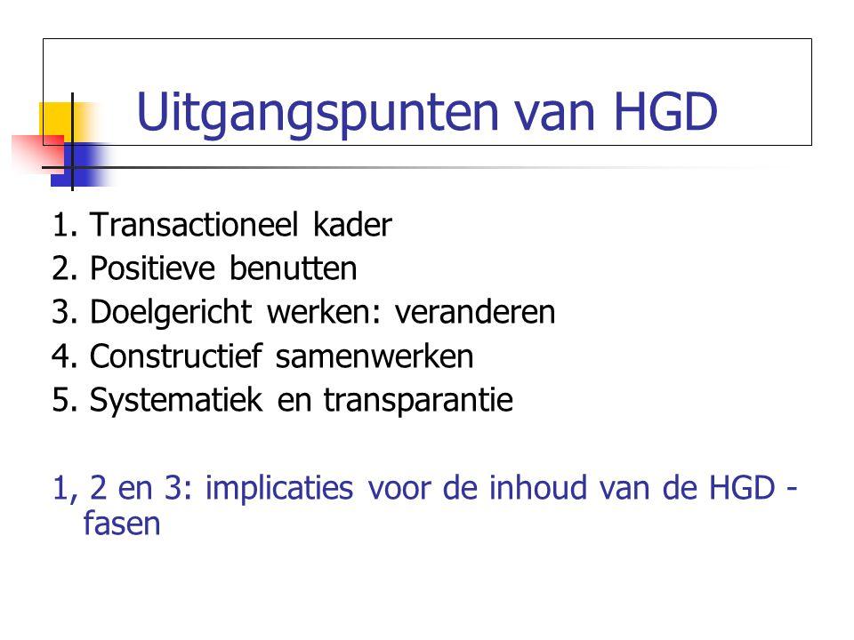 Uitgangspunten van HGD 1.Transactioneel kader 2. Positieve benutten 3.