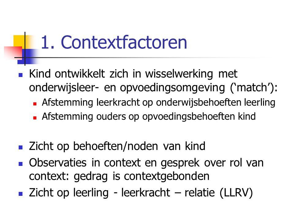 1. Contextfactoren Kind ontwikkelt zich in wisselwerking met onderwijsleer- en opvoedingsomgeving ('match'): Afstemming leerkracht op onderwijsbehoeft