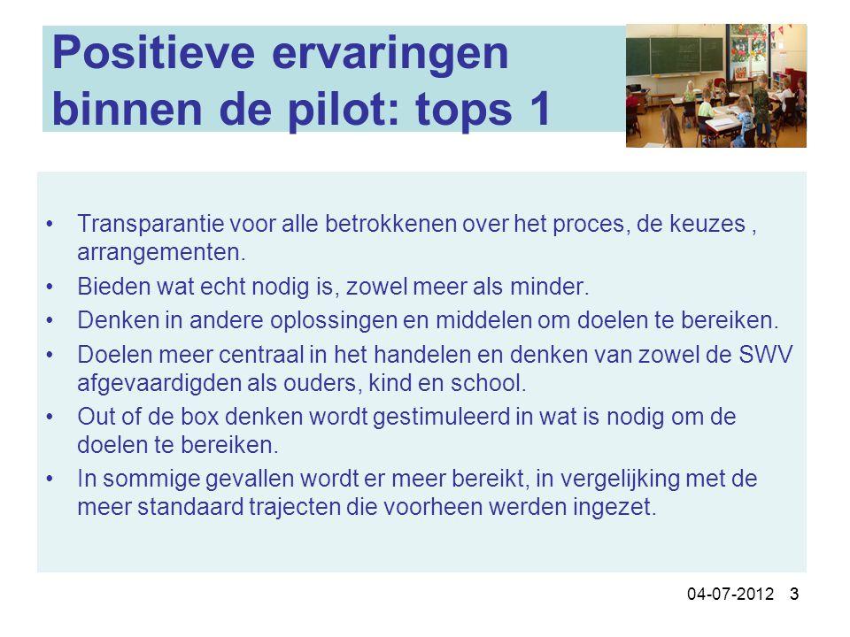 304-07-2012 3 Positieve ervaringen binnen de pilot: tops 1 Transparantie voor alle betrokkenen over het proces, de keuzes, arrangementen. Bieden wat e