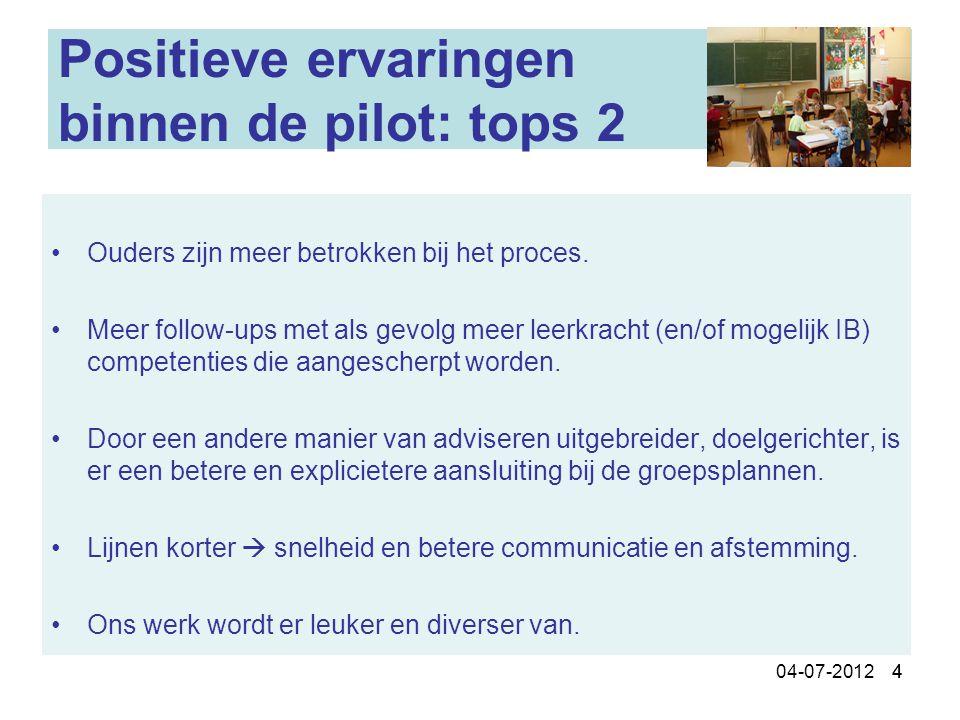 404-07-2012 4 Positieve ervaringen binnen de pilot: tops 2 Ouders zijn meer betrokken bij het proces. Meer follow-ups met als gevolg meer leerkracht (