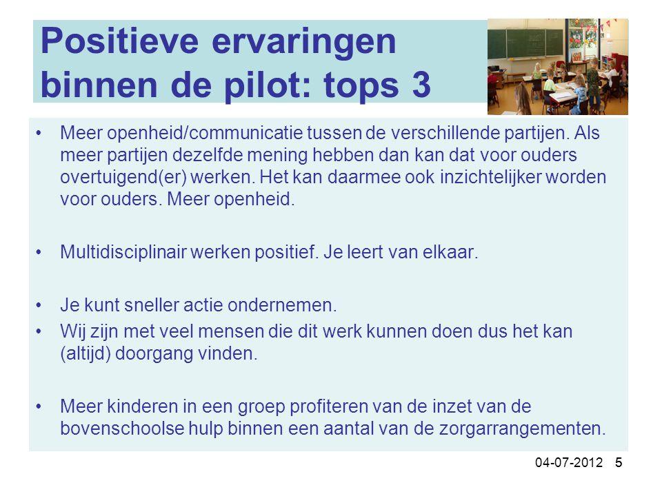 504-07-2012 5 Positieve ervaringen binnen de pilot: tops 3 Meer openheid/communicatie tussen de verschillende partijen. Als meer partijen dezelfde men