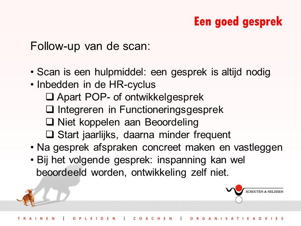 Een goed gesprek Follow-up van de scan: Scan is een hulpmiddel: een gesprek is altijd nodig Inbedden in de HR-cyclus  Apart POP- of ontwikkelgesprek