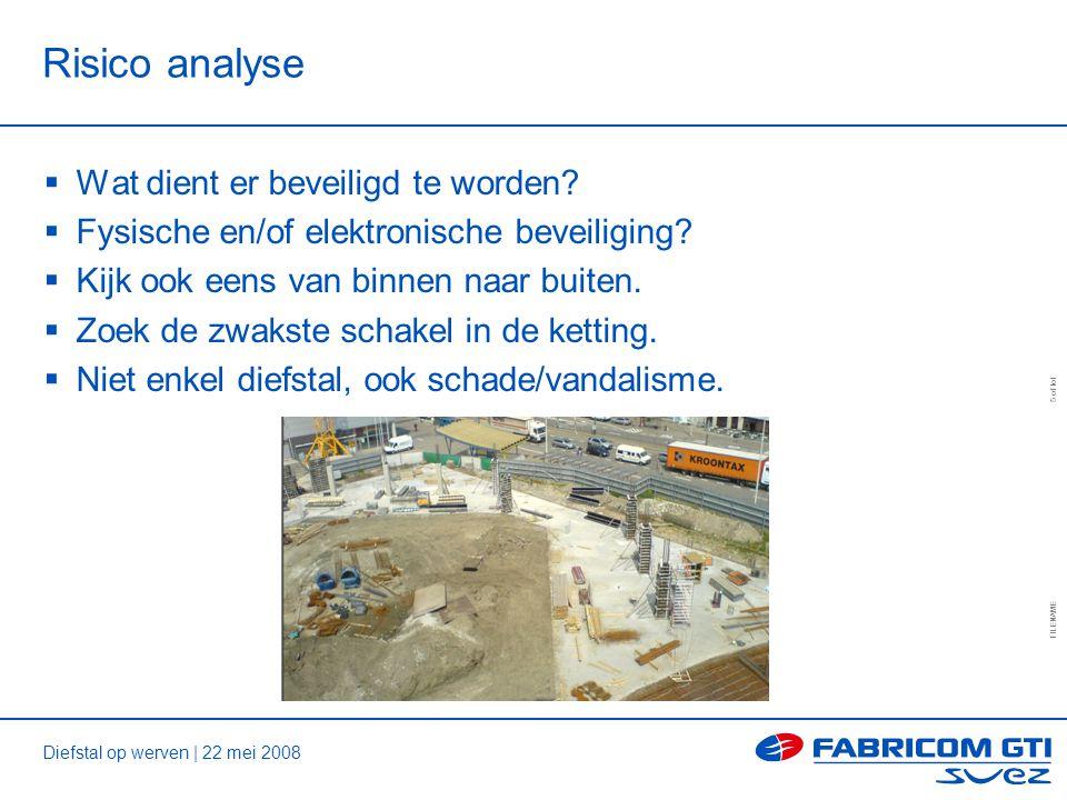 Diefstal op werven | 22 mei 2008 FILENAME 5 of tot Risico analyse  Wat dient er beveiligd te worden.