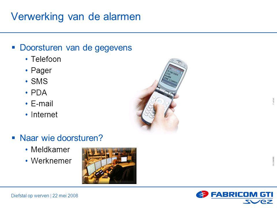 Diefstal op werven | 22 mei 2008 FILENAME 7 of tot Verwerking van de alarmen  Doorsturen van de gegevens Telefoon Pager SMS PDA E-mail Internet  Naar wie doorsturen.