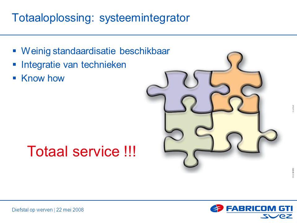 Diefstal op werven | 22 mei 2008 FILENAME 8 of tot Totaaloplossing: systeemintegrator  Weinig standaardisatie beschikbaar  Integratie van technieken  Know how Totaal service !!!