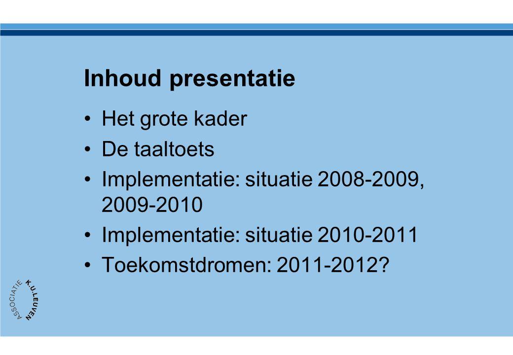 Inhoud presentatie Het grote kader De taaltoets Implementatie: situatie 2008-2009, 2009-2010 Implementatie: situatie 2010-2011 Toekomstdromen: 2011-20