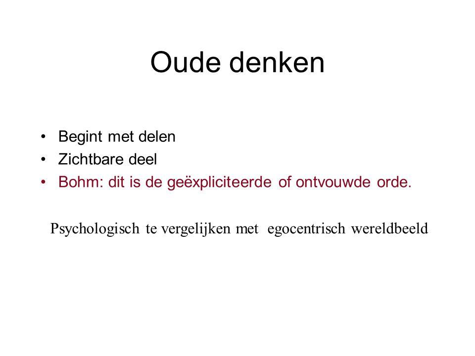Oude denken Begint met delen Zichtbare deel Bohm: dit is de geëxpliciteerde of ontvouwde orde.