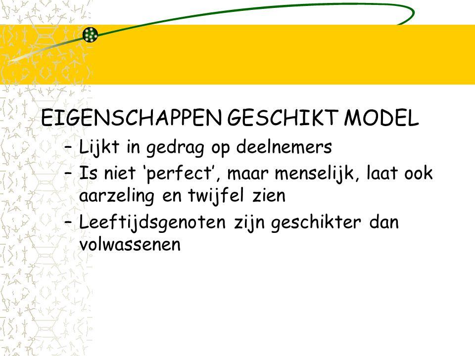 SOVA modelling EIGENSCHAPPEN GESCHIKT MODEL –Lijkt in gedrag op deelnemers –Is niet 'perfect', maar menselijk, laat ook aarzeling en twijfel zien –Leeftijdsgenoten zijn geschikter dan volwassenen