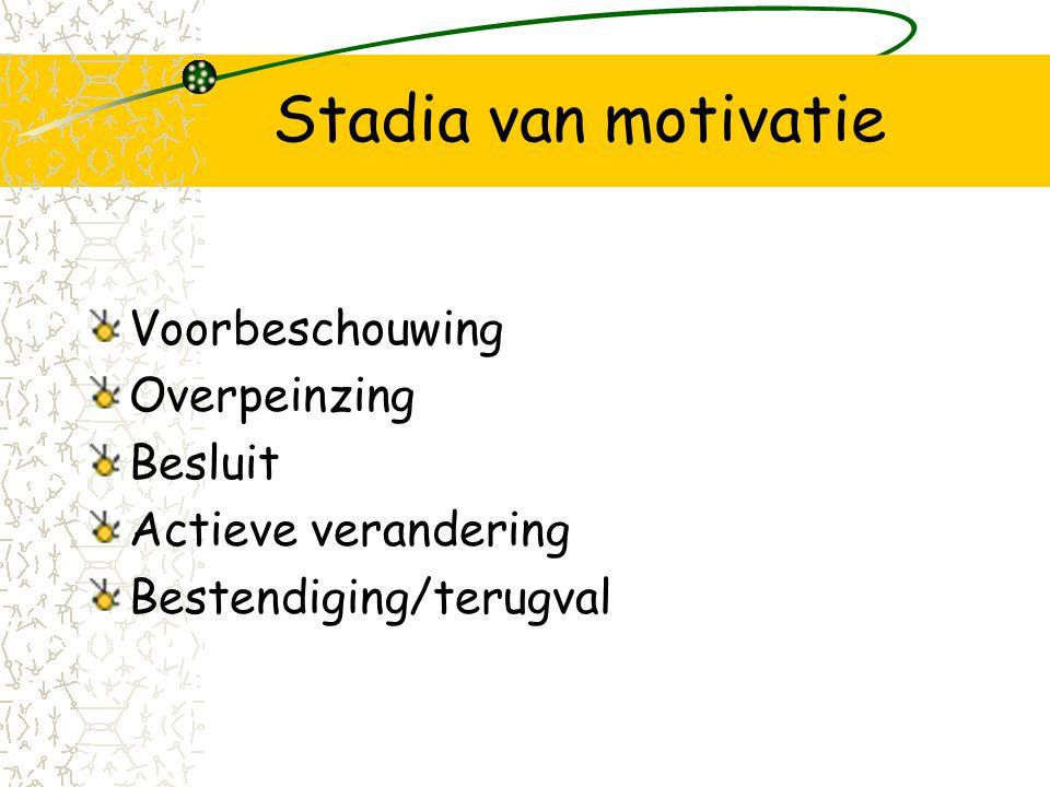 Stadia van motivatie Voorbeschouwing Overpeinzing Besluit Actieve verandering Bestendiging/terugval