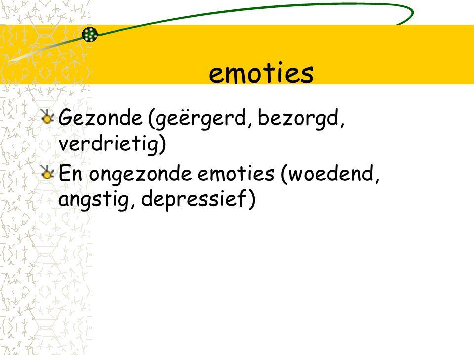 emoties Gezonde (geërgerd, bezorgd, verdrietig) En ongezonde emoties (woedend, angstig, depressief)