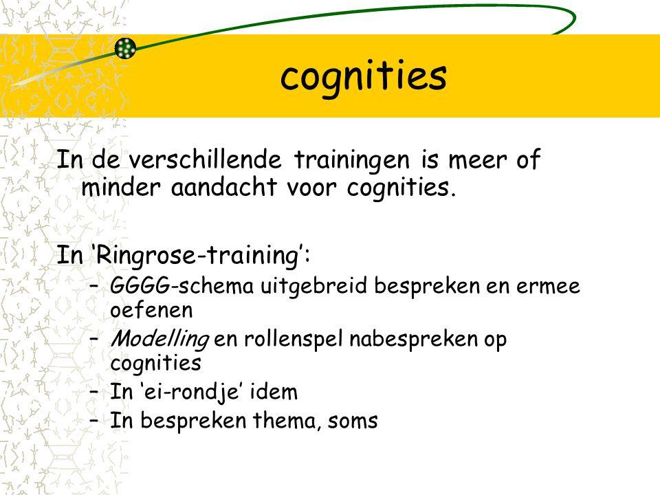 cognities In de verschillende trainingen is meer of minder aandacht voor cognities.