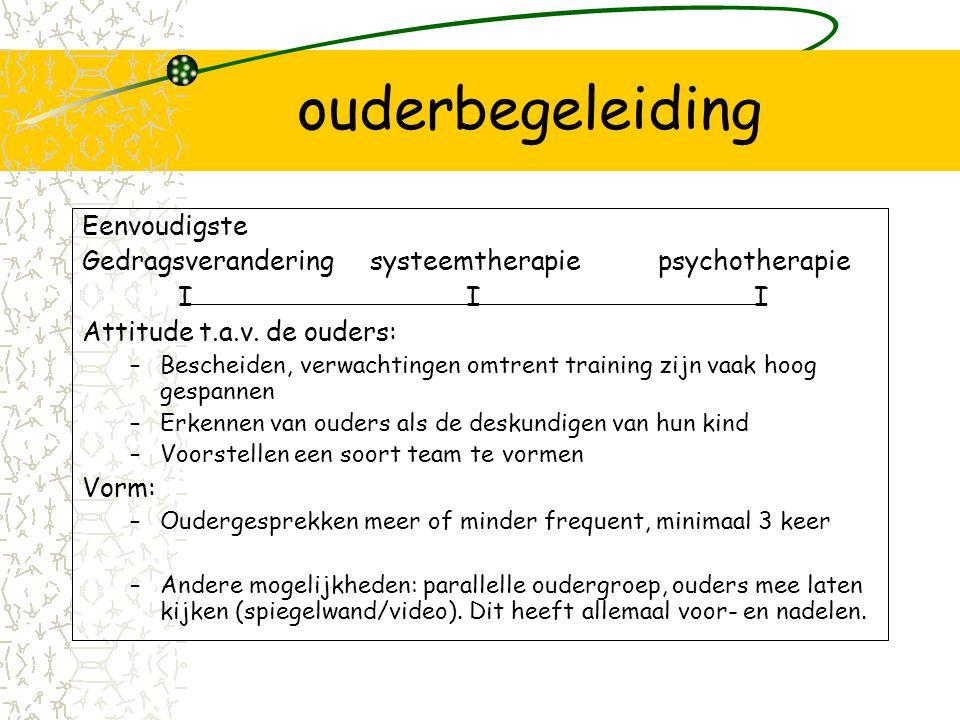 ouderbegeleiding Eenvoudigste Gedragsveranderingsysteemtherapiepsychotherapie III Attitude t.a.v.