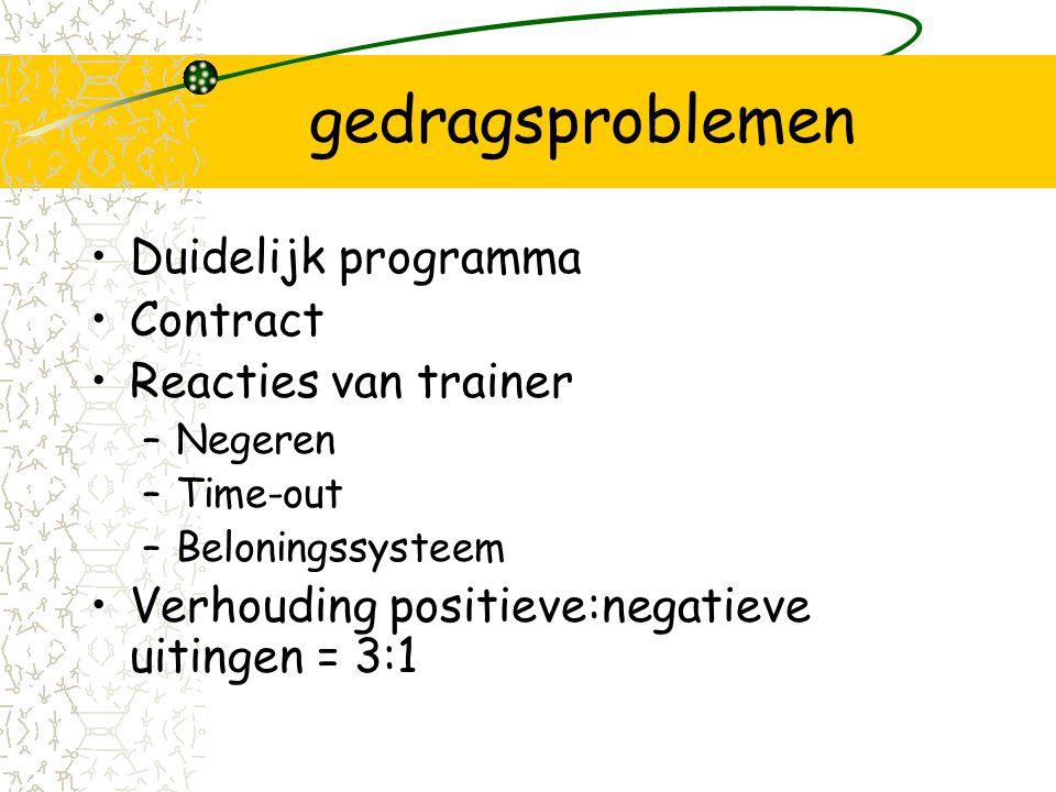 gedragsproblemen Duidelijk programma Contract Reacties van trainer –Negeren –Time-out –Beloningssysteem Verhouding positieve:negatieve uitingen = 3:1