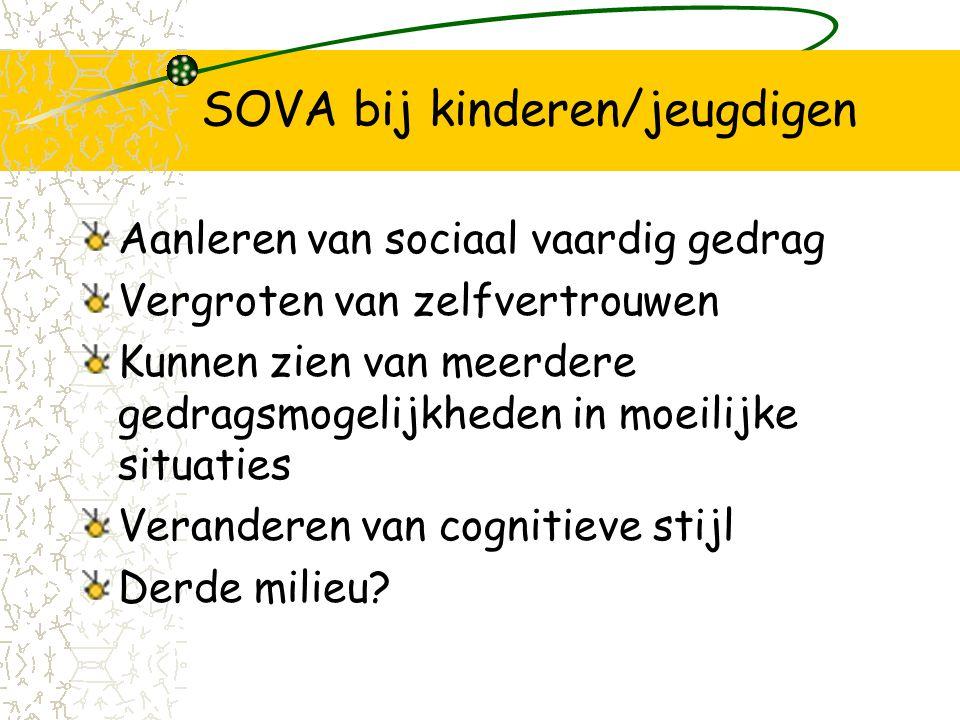 SOVA bij kinderen/jeugdigen Aanleren van sociaal vaardig gedrag Vergroten van zelfvertrouwen Kunnen zien van meerdere gedragsmogelijkheden in moeilijke situaties Veranderen van cognitieve stijl Derde milieu?