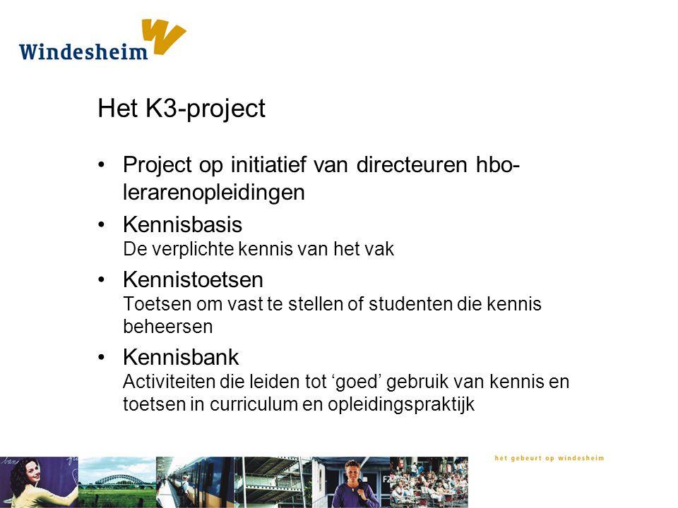 Het K3-project Project op initiatief van directeuren hbo- lerarenopleidingen Kennisbasis De verplichte kennis van het vak Kennistoetsen Toetsen om vas