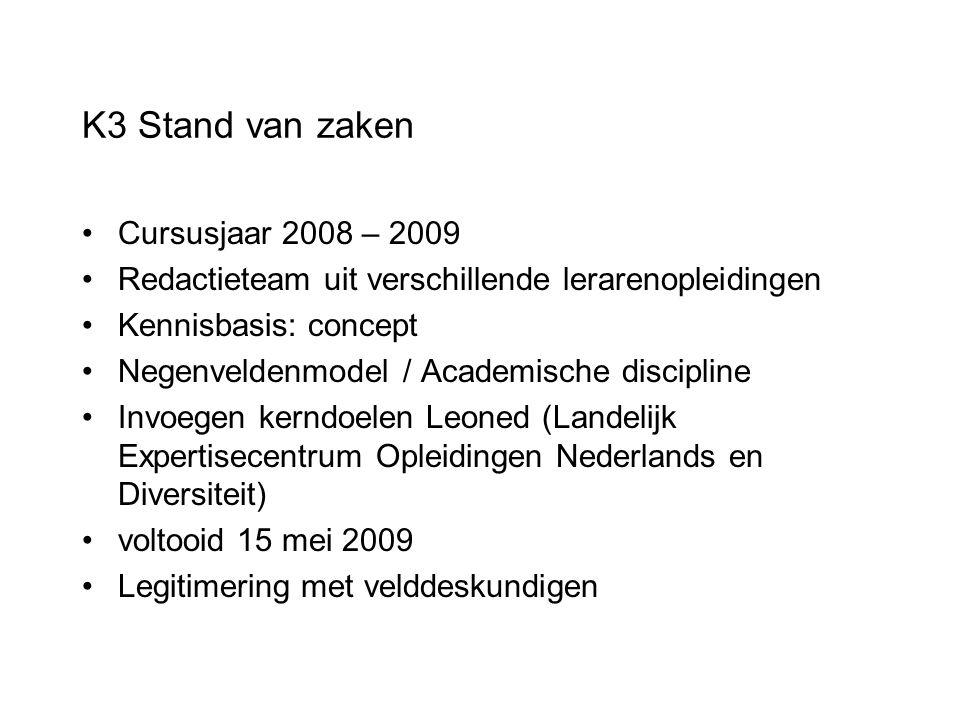 K3 Stand van zaken Cursusjaar 2008 – 2009 Redactieteam uit verschillende lerarenopleidingen Kennisbasis: concept Negenveldenmodel / Academische discip