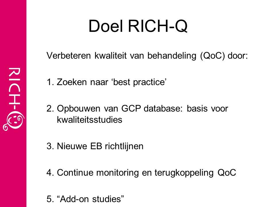 Doel RICH-Q Verbeteren kwaliteit van behandeling (QoC) door: 1.Zoeken naar 'best practice' 2.Opbouwen van GCP database: basis voor kwaliteitsstudies 3.Nieuwe EB richtlijnen 4.Continue monitoring en terugkoppeling QoC 5. Add-on studies