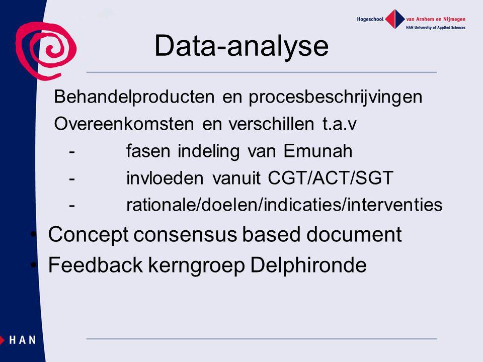 Data-analyse Behandelproducten en procesbeschrijvingen Overeenkomsten en verschillen t.a.v -fasen indeling van Emunah -invloeden vanuit CGT/ACT/SGT -r