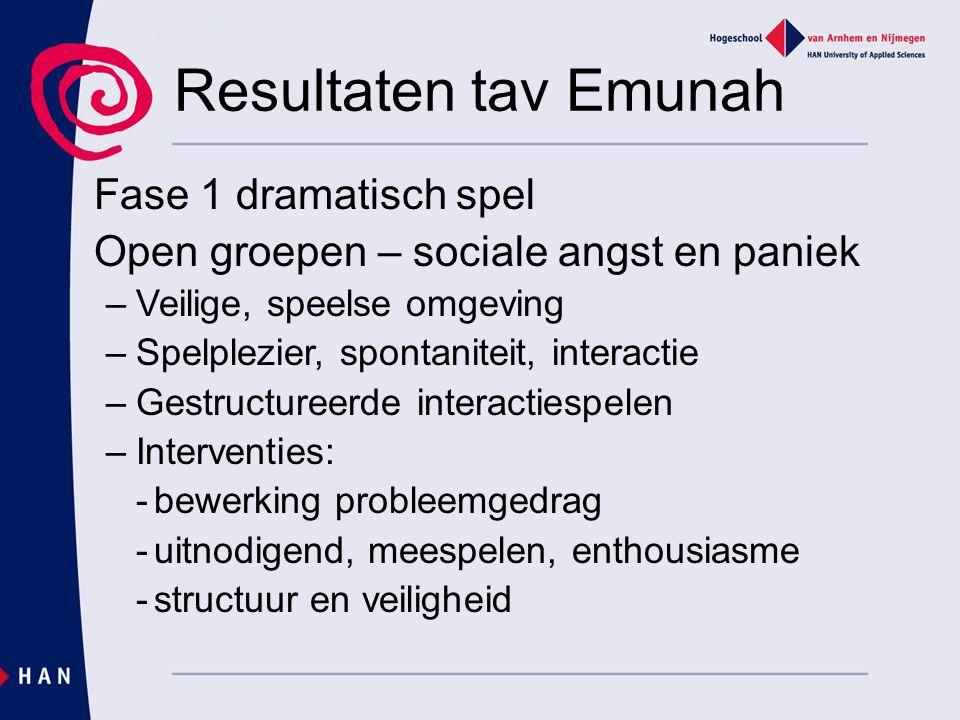 Resultaten tav Emunah Fase 1 dramatisch spel Open groepen – sociale angst en paniek –Veilige, speelse omgeving –Spelplezier, spontaniteit, interactie