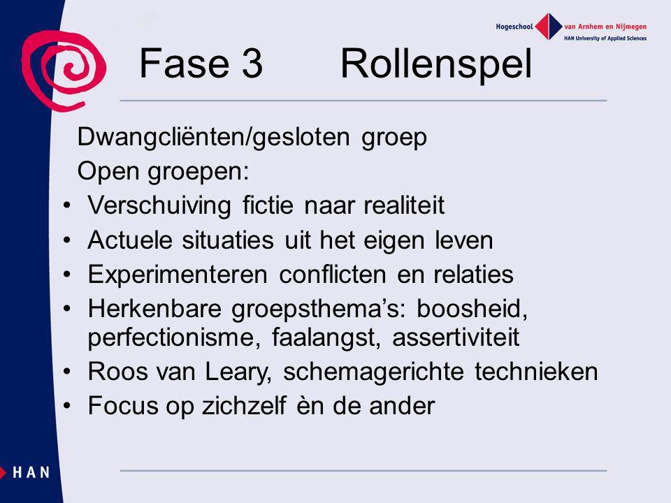 Fase 3Rollenspel Dwangcliënten/gesloten groep Open groepen: Verschuiving fictie naar realiteit Actuele situaties uit het eigen leven Experimenteren co