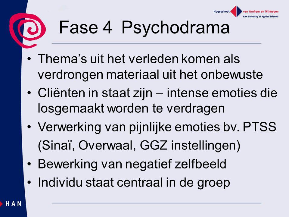 Fase 4 Psychodrama Thema's uit het verleden komen als verdrongen materiaal uit het onbewuste Cliënten in staat zijn – intense emoties die losgemaakt w
