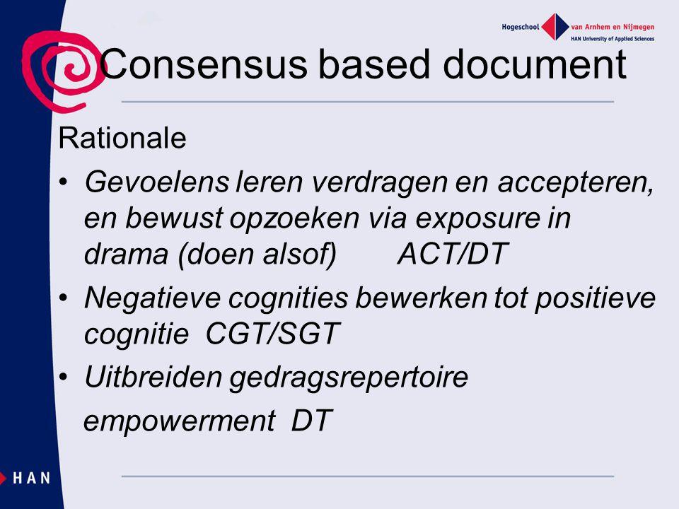 Consensus based document Rationale Gevoelens leren verdragen en accepteren, en bewust opzoeken via exposure in drama (doen alsof) ACT/DT Negatieve cog