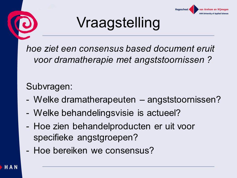 Vraagstelling hoe ziet een consensus based document eruit voor dramatherapie met angststoornissen ? Subvragen: -Welke dramatherapeuten – angststoornis
