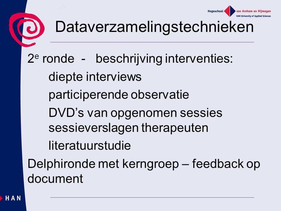 Dataverzamelingstechnieken 2 e ronde - beschrijving interventies: diepte interviews participerende observatie DVD's van opgenomen sessies sessieversla