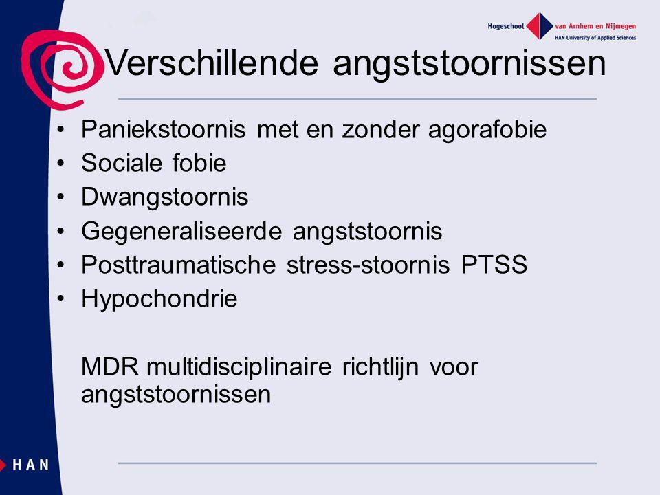 Verschillende angststoornissen Paniekstoornis met en zonder agorafobie Sociale fobie Dwangstoornis Gegeneraliseerde angststoornis Posttraumatische str