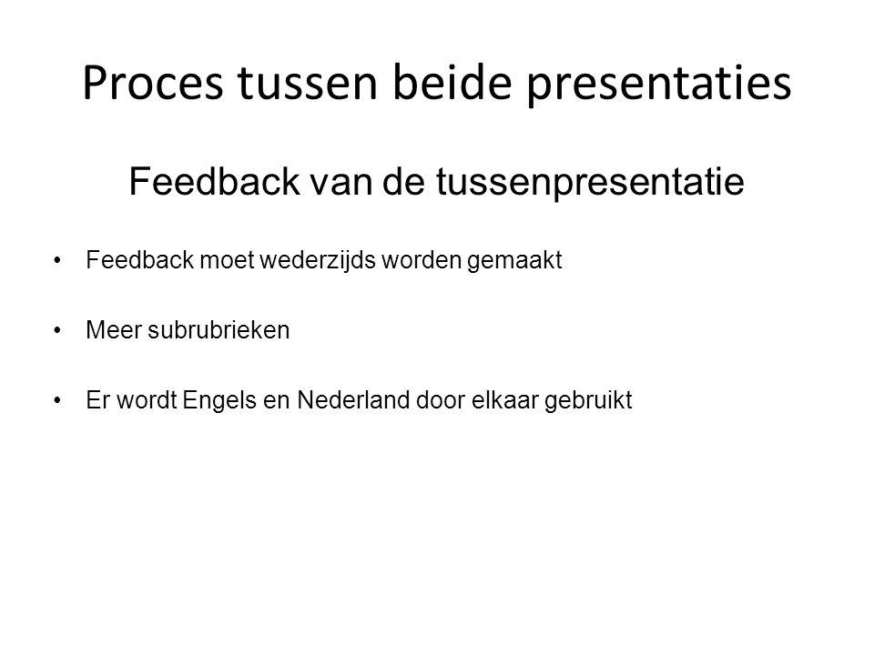 Proces tussen beide presentaties Feedback van de tussenpresentatie Feedback moet wederzijds worden gemaakt Meer subrubrieken Er wordt Engels en Nederl