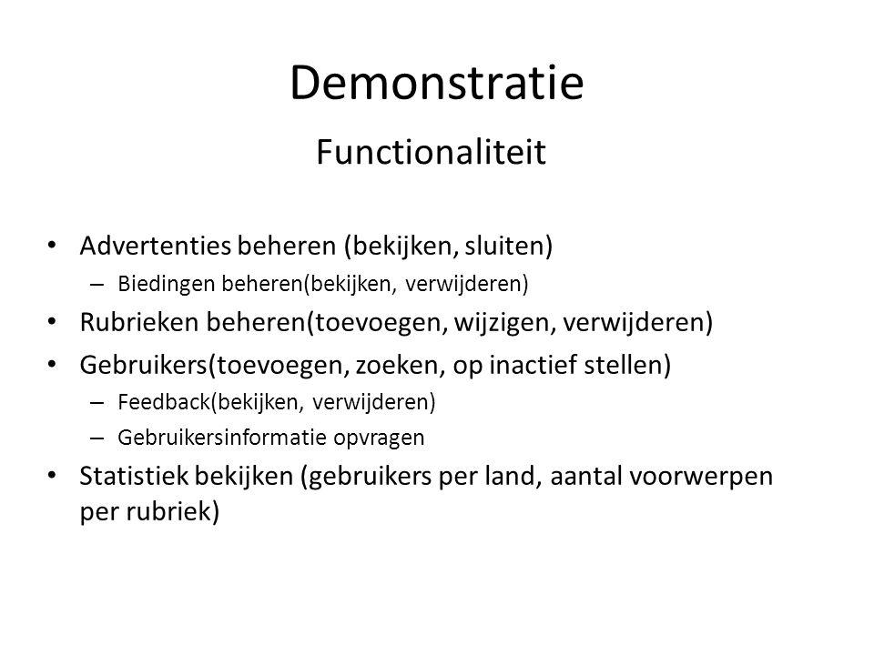 Demonstratie Functionaliteit Advertenties beheren (bekijken, sluiten) – Biedingen beheren(bekijken, verwijderen) Rubrieken beheren(toevoegen, wijzigen
