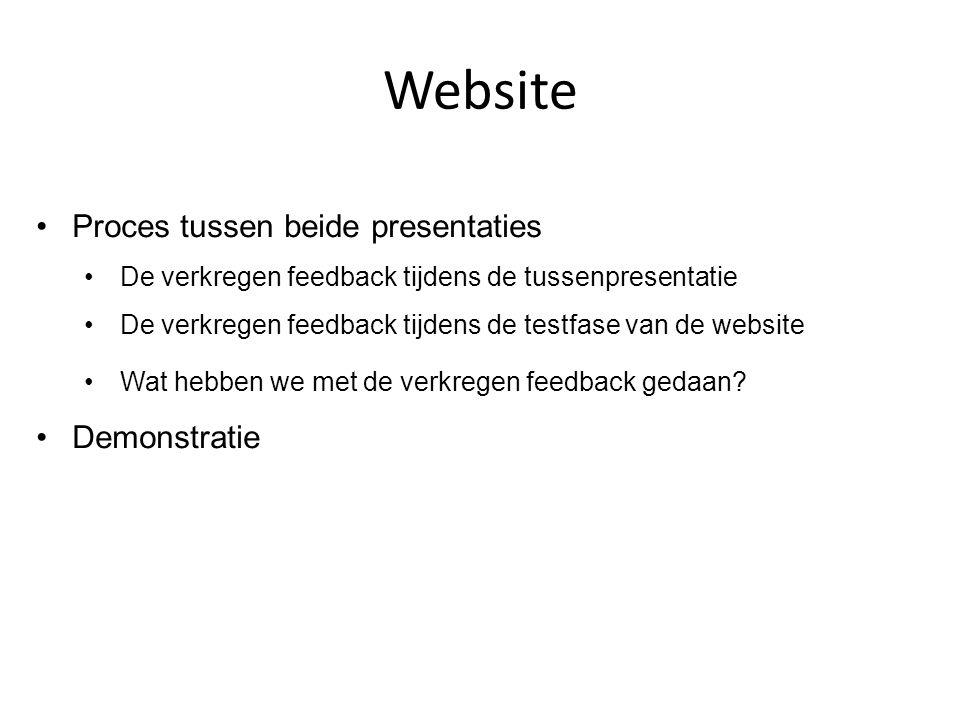 Website Proces tussen beide presentaties De verkregen feedback tijdens de tussenpresentatie De verkregen feedback tijdens de testfase van de website W