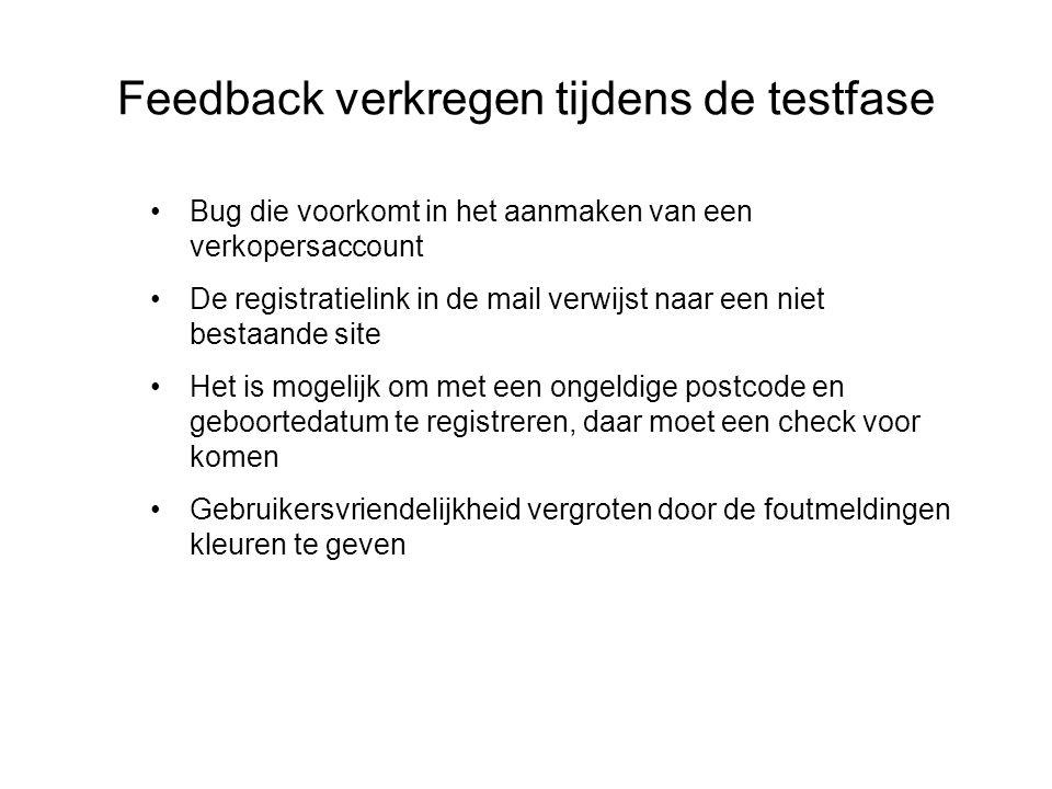 Feedback verkregen tijdens de testfase Bug die voorkomt in het aanmaken van een verkopersaccount De registratielink in de mail verwijst naar een niet