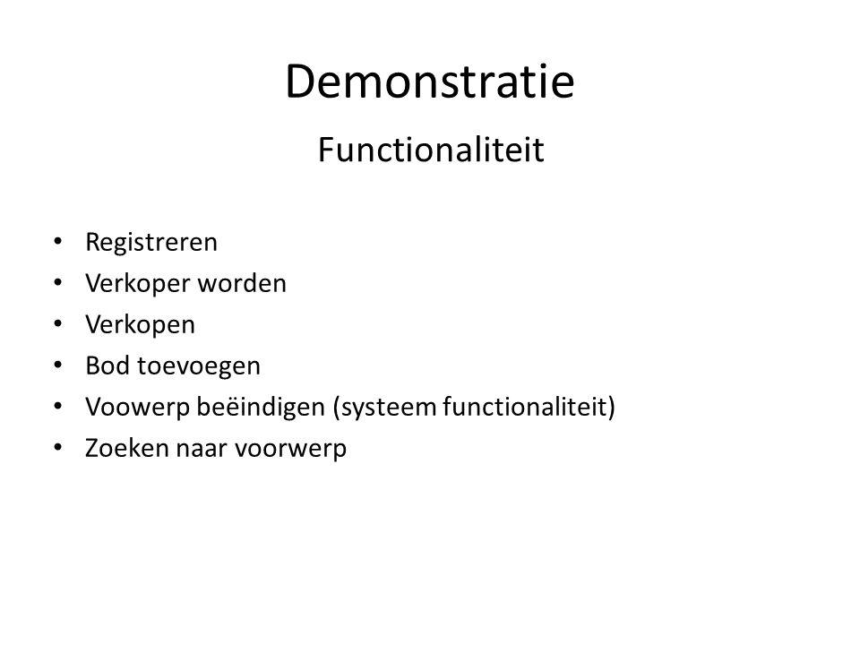 Demonstratie Functionaliteit Registreren Verkoper worden Verkopen Bod toevoegen Voowerp beëindigen (systeem functionaliteit) Zoeken naar voorwerp