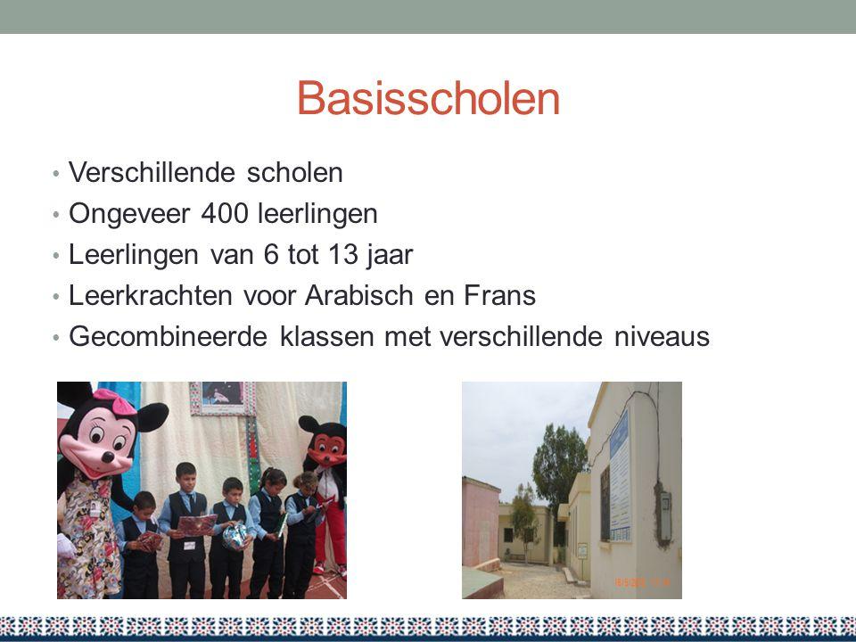 Basisscholen Verschillende scholen Ongeveer 400 leerlingen Leerlingen van 6 tot 13 jaar Leerkrachten voor Arabisch en Frans Gecombineerde klassen met