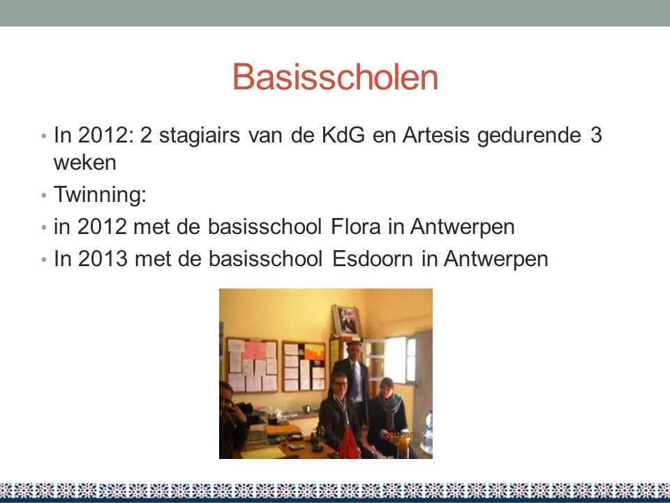 Basisscholen In 2012: 2 stagiairs van de KdG en Artesis gedurende 3 weken Twinning: in 2012 met de basisschool Flora in Antwerpen In 2013 met de basis