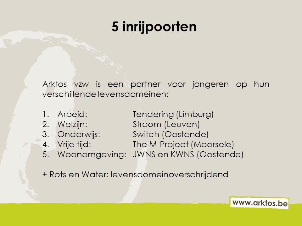 5 inrijpoorten Arktos vzw is een partner voor jongeren op hun verschillende levensdomeinen: 1.Arbeid: Tendering (Limburg) 2.Welzijn: Stroom (Leuven) 3