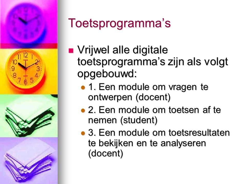 Toetsprogramma's Vrijwel alle digitale toetsprogramma's zijn als volgt opgebouwd: Vrijwel alle digitale toetsprogramma's zijn als volgt opgebouwd: 1.