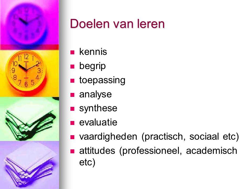 Doelen van leren kennis begrip toepassing analyse synthese evaluatie vaardigheden (practisch, sociaal etc) attitudes (professioneel, academisch etc)