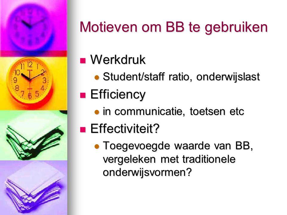 Motieven om BB te gebruiken Werkdruk Werkdruk Student/staff ratio, onderwijslast Student/staff ratio, onderwijslast Efficiency Efficiency in communicatie, toetsen etc in communicatie, toetsen etc Effectiviteit.