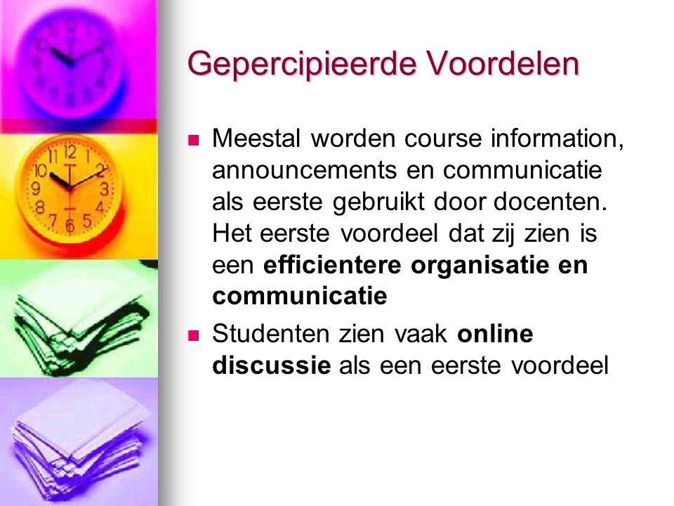 Gepercipieerde Voordelen Meestal worden course information, announcements en communicatie als eerste gebruikt door docenten.