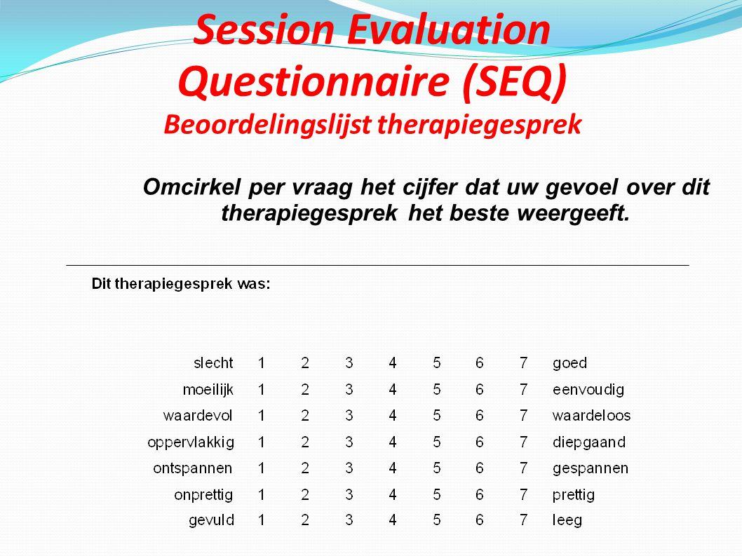 Session Evaluation Questionnaire (SEQ) Beoordelingslijst therapiegesprek Omcirkel per vraag het cijfer dat uw gevoel over dit therapiegesprek het best