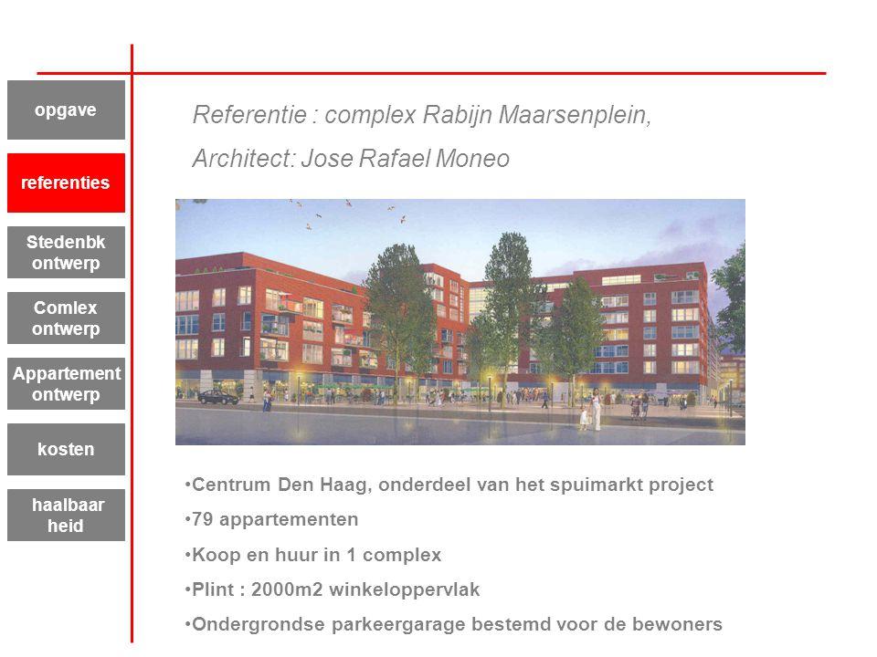 Referentie : complex Rabijn Maarsenplein, Architect: Jose Rafael Moneo Centrum Den Haag, onderdeel van het spuimarkt project 79 appartementen Koop en