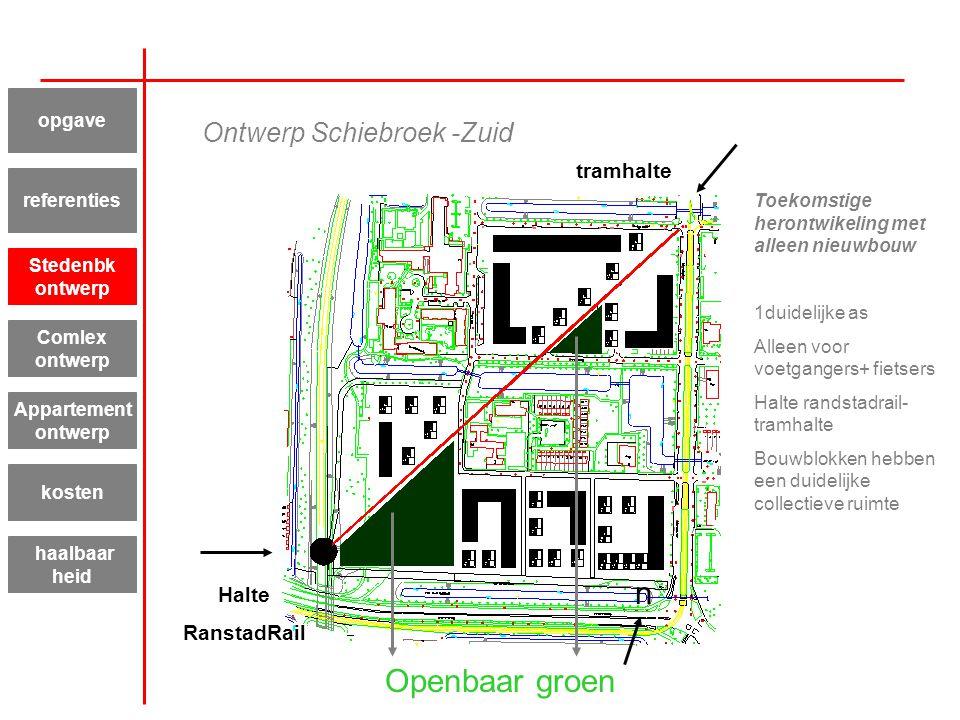 Ontwerp Schiebroek -Zuid Toekomstige herontwikeling met alleen nieuwbouw 1duidelijke as Alleen voor voetgangers+ fietsers Halte randstadrail- tramhalt