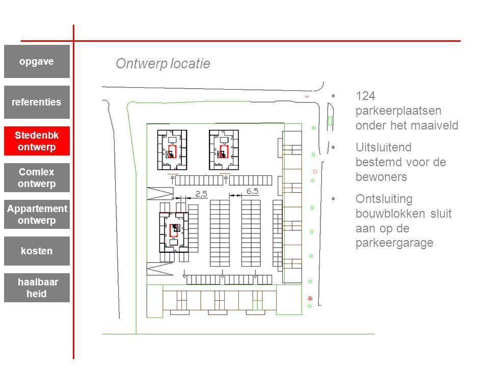 Ontwerp locatie 124 parkeerplaatsen onder het maaiveld Uitsluitend bestemd voor de bewoners Ontsluiting bouwblokken sluit aan op de parkeergarage Appa