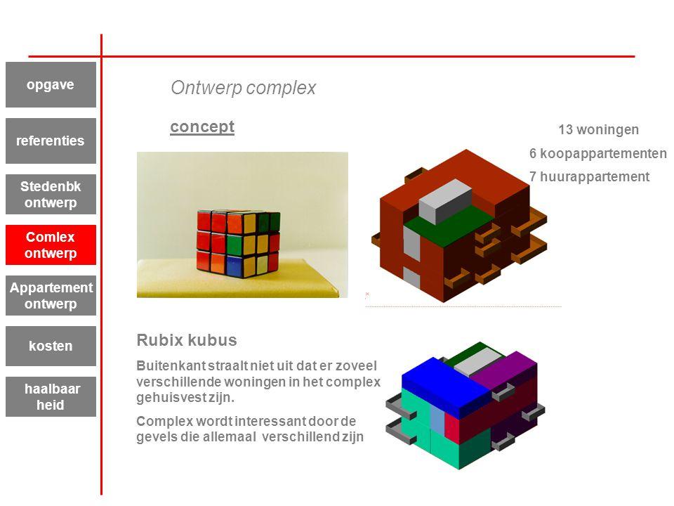 Ontwerp complex concept Rubix kubus Buitenkant straalt niet uit dat er zoveel verschillende woningen in het complex gehuisvest zijn. Complex wordt int