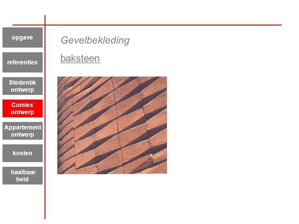 Appartement ontwerp kosten haalbaar heid referenties Stedenbk ontwerp Comlex ontwerp opgave Gevelbekleding baksteen