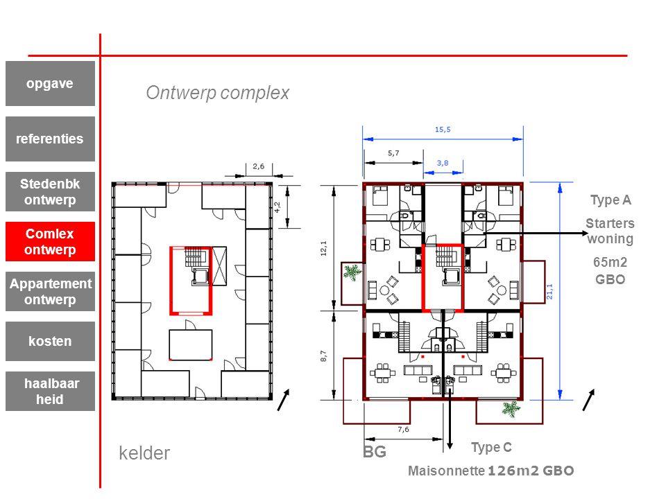 kelder BG Type A Starters woning 65m2 GBO Type C Maisonnette 126m2 GBO Appartement ontwerp kosten haalbaar heid referenties Stedenbk ontwerp Comlex on