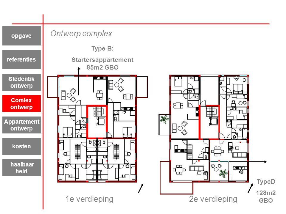 Type B: Startersappartement 85m2 GBO TypeD 128m2 GBO 1e verdieping2e verdieping Appartement ontwerp kosten haalbaar heid referenties Stedenbk ontwerp